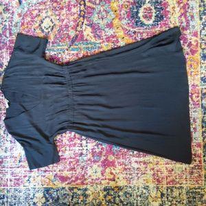 Japanese GoWeave Light V-Neck Dress : Washed Black